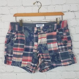 Old Navy Plaid Floral Red and Blue Shorts Size 6